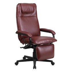 High Back Burgundy Leather Executive Reclining Office Chair - •Shipping Weight: 42 lbs.