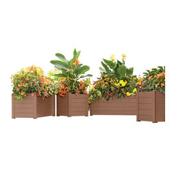 "Terrazza Trough Planter 16-1/2"" W x 39-1/4"" L x 16"" H, Bronze - Design Your Own Lush Terrace Garden"