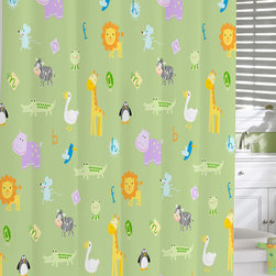 None - Green Safari Print Cotton Shower Curtain - Liven up your shower with this colorful cotton curtain. This bold curtain features a safari print on a green background. Made from 100 percent cotton material, this curtain is machine washable. Pair this piece with others in the Safari collection.