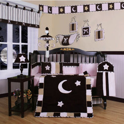 """Geenny - Boutique Moon and Star 13 Piece Crib Bedding Set in Pink / Brown - This listing is for a 13 piece beautiful Geenny brand new crib set with all the bundle you will need. This set is made to fit all standard cribs and toddler beds. The whole set comes with 10 pieces plus 3 new wall art decor hangings, which comes out as a total 13 piece bundle. The set is made by Geenny Designs, well known as Nursery Series Products Designs. All bundled pieces are in a brand new zippered, handled carrying bag. Dress up and decorate your baby's room with this beautiful 13 piece crib bedding set. Features: -Set includes: Crib quilt, two valances, skirt, crib sheet, bumper, diaper stacker, toy bag, two pillows, three wall hangings. -Color: Pink / Brown. -Material: 65 / 35 Percent of Polyester / Cotton. -Crib quilt: 45"""" H x 36"""" W. -Crib bumper: 10"""" W x 158"""" D. -Fitted crib sheet: 52"""" H x 28"""" W. -Window valances: 16"""" H x 58"""" W. -Crib skirt: 28"""" H x 52"""" W. -Toy bag: 20"""" H x 14"""" W. -Decorative accent pillows: 10"""" H x 10"""" W. -Machine washable."""