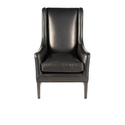 Wally- Wing Chair - Transistional Tall Back Wing Chair with Exposed Solid Wood Legs and Nail Head trim.