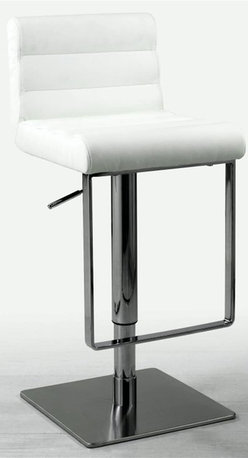 Chintaly - Ribbed Adjustable Height Swivel Bar Stool wit - Perfectly radiant in pure white and bright stainless steel finish, this amazing contemporary swivel barstool is not all glitz and glamour.  You don't sacrifice comfort for style, with a thick plush channel-stitched seat and back.  Easily adjustable with a pneumatic gas lift, it glides smoothly up and down from counter to bar height, or anywhere in between.  Attractive and unique, this terrific stool will have you sitting pretty. Made up of steel. Brushed stainless steel finish. PVC upholstered seat. No assembly required. Adjustable seat height from 21.5 in. to 29 in.. 16 in. W x 19 in. L x 31 in. H
