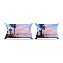 "Kess InHouse - Rosie Brown ""Florida Sunset"" Palm Tree Pillow Case, King (36"" x 20"") - This pillowcase, is just as bunny soft as the Kess InHouse duvet. It's made of microfiber velvety fleece. This machine washable fleece pillow case is the perfect accent to any duvet. Be your Bed's Curator."