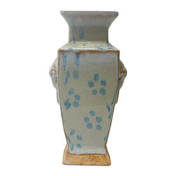 Golden Lotus - Chinese Rustic Light Blue Glaze Ceramic Vase - It is a hand made oriental style ceramic vase in rustic light blue glaze finish.
