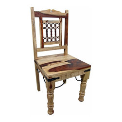 Hardwood And Iron Rustic Dining Chair - Solid hardwood dining chair. Spanish Tuscan look and feel with handmade iron accents. These chairs work with any of our Spanish Colonial tables. Chairs are sold in pairs Only. Price is per chair. Dimensions: 18. 5'' l x 39. 5'' h x 18. 5'' w Seat height is 18. 5.