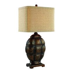 Joshua Marshal - One Light Faux Tortoise Shell Burlap Natural Square Shade Table Lamp - One Light Faux Tortoise Shell Burlap Natural Square Shade Table Lamp