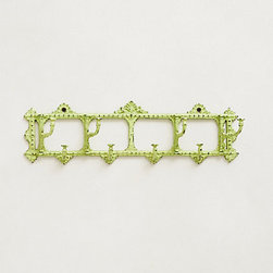 Palais Hook Rack, Green - This green coat rack would add some fun color to an entryway. It comes in two sizes, so it will fit any size space or family.