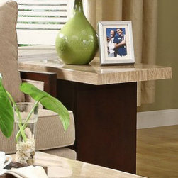Homelegance - Homelegance Mooney Faux Marble Top End Table w/ Espresso Base - In a unique turn of design  the 3226 Collection feature off-set table bases in a rich espresso finish that perfectly compliments the cool creamy tone of the faux marble tabletops. Each base features a display shelf  providing you the extra space to show off your prized possesions.