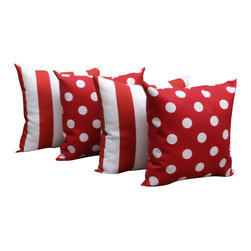 Land of Pillows - Polka Dot Red and Stripe Rojo Red and White Outdoor Throw Pillows - Set of 4 - Shake up the status quo by mixing stripes and polka dots, but do it with the unifying element of color! Breaking the rules never felt so fun!