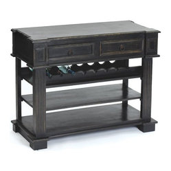 Go Home - Go Home Sonoma Cabinet - Keep this cabinet in your kitchen to store items as it comes from the European furniture collection. It is made of wood and has a hand painted black finish. It has two drawers, three racks and a flat table top.