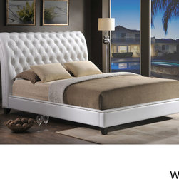 Baxton Studio - Jazmin Tufted Modern Bed with Upholstered Headboard - Enhance your bedroom with the unparalleled elegance of a modern upholstered headboard. The Jazmin Designer Bed shines with fabulous features like a scroll back headboard,button tufting and silver nail head trim.