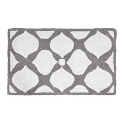"Jonathan Adler - Jonathan Adler Hollywood Bath Rug - Chic is made simple with Jonathan Adler's neutral Hollywood bath mat. A graphic gray-and-white pattern forms a mod floral motif on this floor covering for contemporary flair. 21""W x 34""L; 100% cotton; Tufted and loop"