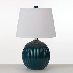 AF Lighting - Mercer Sea Blue Table Lamp By Angelo Home - - Ceramic ribbed ball table lamp in sea blue , shade is a hardback poly linen shade in white  - 20  -5 H X 13 D, 1- 40 watt Edison base bulb not included  - Rotary On/Off switch  - Due to hand crafting, no 2 alike  - Portable lamps that are not fluorescent or non LED that are shipping to California will include compatible fluorescent bulb(s) AF Lighting - 8568-TL