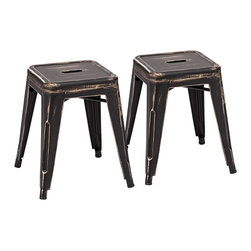"""Zuo - Set of 2 Zuo Marius Antique Black Stools - Set of 2 Zuo Marius Antique Black Stools Set of 2. 100 percent powder coated steel. Antique black gold finish. Design by Zuo Modern. No assembly required. Seat is 12"""" wide. 17 3/4"""" high. 15 1/2"""" wide.  Set of 2.  100 percent powder coated steel.  Antique black gold finish.  Design by Zuo Modern.  No assembly required.  Seat is 12"""" wide.  17 3/4"""" high.  15 1/2"""" wide."""