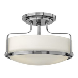 Hinkley Lighting - Hinkley Lighting 3641CM Harper Foyer Light - Harper's sleek, retro design elevates the traditional flush mount with a unique opal glass bound by a prominent metal ring and decorative knobs available in three finishes.