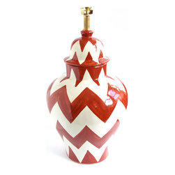 "Zigzag Lamp, Orange/White, 10"" X 18"" - ¡Viva Mexico! The hand-painted chevron design on this lamp lends a contemporary edge to an authentic Mexican piece of artwork .... And it makes a serious statement in any home, whether modern or laid-back traditional."