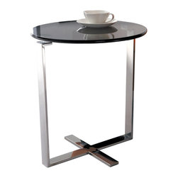 Armen Living - Allen End Table In Stainless Steel With Glass Top - Simple round design will match your modern d cor.  Relax with a cup of coffee anywhere you like with this nice end table at your side. Constructed of stainless steel and tempered glass top.