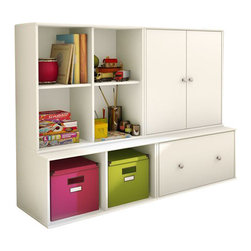 South Shore - South Shore Stor It 4 Piece Storage Unit in Pure White - South Shore - Storage Cabinets - 505077X4PKG - South Shore Stor It 4 Cubby Storage Unit in Pure White (included quantity: 1) This shelving unit from the Stor It collection in Pure White finish has four open cubes designed to maximize storage in all the rooms of your house. Its curved lines and minimalist design are typical of the transitional style that matches any decor. Match it up with other pieces from the Stor It collection to create your own storage solution. Features: