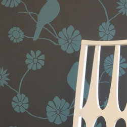 Madison and Grow Wallpaper, Eleanor - I first spied this beautiful and eco-friendly wallpaper in Elizabeth Bomberger's room at The Upward Bound House Family Shelter. The bird and floral print is elegant, the color combination of deep brown and blue makes it pop without overwhelming the space.