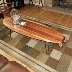 Surfboard Coffee Tables - California Redwood Surfboard Coffee Table w/ Hairpin Legs