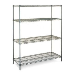 Olympic - Olympic 18 in. Deep 4-Shelf Starter Unit - Gr - Choose Size: 24 in. W x 74 in. H18 inch depth. 24 to 48 in. wide units: 800 lb. capacity per shelf. 54  to 72 in. wide unit: 600 lb. capacity per shelf. Commercial Grade / Industrial Use. Olympic wire shelving made of carbon-steel will exceed all your storage needs. Open construction allows use of maximum storage space of cube. Each unit includes 4 posts, 4 shelves and split-sleeves to attach shelves to posts. Green epoxy finish with chromat substrate is rust resistant and is suitable in cold and/or wet environments. Open wire design that minimizes dust accumulation and allows a free circulation of air. Greater visibility of stored items and greater light penetration. Can be loaded/unloaded from all sides. Wire shelving that can change as quickly as your needs change. Shelf wires run front to back allowing for items to slide on and off shelves smoothly. Shelves can be adjusted at 1 inch intervals along entire length of post. NSF Approved. Assembly Required