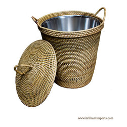 Brilliant Imports : The Bali Collection ~ Baskets & Boxes - {NEW} RATTAN BASKET WITH HANDLES, HANDLETOP & LINING