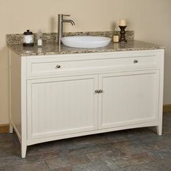 "48"" Halifax Vanity for Semi-Recessed Sink - Shaker-inspired, the 48"" Halifax Vanity features a functional two-door cabinet with two interior shelves for added storage. Create a crisp look for your bathroom with this cabinet's Creamy White finish and Brushed Nickel hardware."