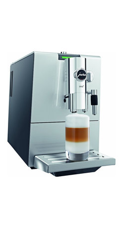 """Jura Capresso - Jura Capresso ENA 9 One-Touch Espresso Machine - The ENA 9 is Jura-Capresso 's thinnest one-touch espresso machine to date. Measuring just 9""""Wx14""""Hx17.5""""D, this super-automatic beverage center offers full grinding, tamping, brewing and steaming capabilities. The controls and interface are organized and easy to operate. Espresso, coffee, cappuccino, latte macchiato and other specialty beverages can be prepared and dispensed at the touch of a button. Innovative Fine Foam and the Aroma Boost features make the ENA 9 a functional and versatile machine, perfect for any home."""