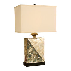 "Welcome Home Accents - 28.25""H Chrome Twist Table lamp - Sleek Chrome Twist Table lamp topped with a rectangular cream silk shade"