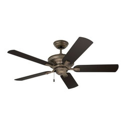 """Emerson Fans - 52"""" Veranda Ceiling Fan by Emerson Fans - Slim lines make their way around the body of the Emerson 52"""" Veranda Ceiling Fan, from the canopy, to the body, to the finial at the bottom. Five weather-resistant blades and a wet location rating ensure this fan will keep spinning no matter the elements, especially paired with its limited lifetime motor warranty. Emerson Fan Company headquartered in Saint Louis, Missouri, pairs time-honored craftsmanship with cutting-edge technology to create quiet, high-quality ceiling fans that enhance interior and exterior."""