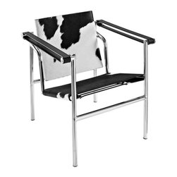 Modway - LC1 Pony Hide Lounge Chair in Black and White - Charles inspired campaign chair, imposing, serious about comfort. Add some poise and position to your room with this intimidatingly excellent piece.