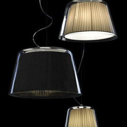 Gretta C Pendant Lamp By Modiss Lighting - Gretta C from Modiss is a modern pendant light part of a series of lamps that feature a glass diffuser around the fabric shade.