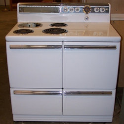 Westinghouse 1940′s Electric Stove - According to Pinterest the key to happiness is owning a vintage stove. This Westinghouse is in beautiful condition with an oven, cooktop including specially designed soup burner, and three large storage drawers. Add a little pizazz to your kitchen!