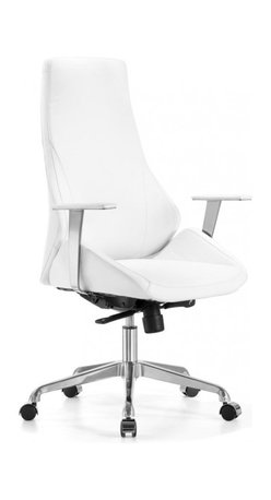 White Line Imports - Natasha Executive High Back Office Chair in White Leatherette - Features: