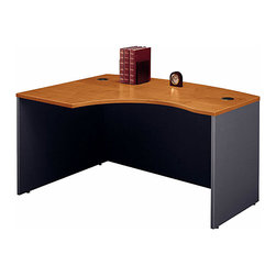 "Bush Business - Left ""L Corner Desk in Natural Cherry - Serie - The Series C Natural Cherry Left ""L"" Corner Desk solves your corner placement problems while allowing users to face the approach side while keyboarding, thus affording greater computer screen privacy.  Thoughtfully placed desktop & modesty panel grommets facilitate concealed wire access. * Accepts Universal or Articulating Keyboard Shelf. L-Bow desk allows user to face approach side while keyboarding, and affords greater computer screen privacy. Accepts Right Return. Desktop & modesty panel grommets for wire access and concealment. Durable melamine surface resists scratches and stains. Durable PVC edge banding protects desk from bumps and collisions. Weight Limit: 200 lbs.. 58.858 in. W x 42.874 in. D x 29.842 in. H"