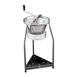 Paderno World Cuisine - Sieve for 15-Quart Tin Food Mill with 1/8-in. Perforations - This Paderno World Cuisine sieve for the 15-quart tin food mill with 1/8-in. perforations has an output of approximately 24 pounds per minute and is suitable for a restaurant serving up to 200 guests. The diameter is 15-3/8 in.  and the height is 31-1/2 in. . The sieve diameter is 7-7/8 in. . A 50-quart stock pot is the best choice for a receptacle. This sieve is sold separately from the mill.