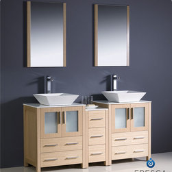 "Torino 60 Light Oak Modern Double Sink Bathroom Vanity With Side Cabinet Vessel - Fresca is pleased to usher in a new age of customization with the introduction of its Torino line.  The frosted glass panels of the doors balance out the sleek and modern lines of Torino, making it fit perfectly in either ?Town? or ?Country? d?cor.  Available in the rich finishes of Espresso, Glossy White, Light Oak and Walnut Brown, all of the vanities in the Torino line come with either a ceramic vessel bowl or the option of a sleek modern ceramic integrated sink.Dimensions of Vanity:  60""W x 18.13""D x 35.63""H. Dimensions of Mirror:  20.75""W x 31.5""H x 1.25""D. Materials:  Plywood w/ Veneer, Ceramic Sinks. Single Hole Vessel Faucet Mounts (Faucets Shown In Picture May No Longer Be Available So Please Check Compatible Faucet List). P-traps, Faucets, Pop-Up Drains and Installation Hardware Included"