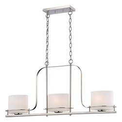 Nuvo - Three Light - Island Pendant - Polished Nickel Finish with Etched Opal Glass - Shade: Etched Opal Glass.  Bulb Info: 3 x 60W Medium Base A19 Incandescent (Bulb Not Included).  Style: Contemporary.  UL Certified: Dry Location.  . Color/Finish: Polished Nickel. 36 in. W x 17.38 in. H (16.58 lbs)The Loren collection finished in venetian bronze or polished nickel and accented by etched opal glass or white linen shades, features unique chandeliers, pendants and vanities.  The venetian bronze finish adds a bold country look to kitchens, dining, living areas and baths where the polished nickel finish which is decidedly contemporary, has an upscale look which adds to an already elegant design.  The Loren collection finds itself at home anywhere a distinctive design touch and soft task or ambient lighting is needed.