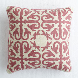 Morocco Pillow, Rose - This blush and cream pillow is wool embroidered on soft cotton and has a Moroccan flair that screams boho chic.