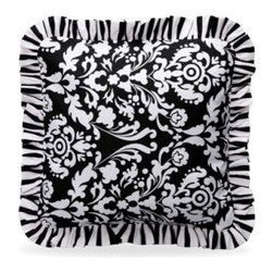Bananafish Taylor Decorative Pillow - Grace any nursery chair with the stylish Bananafish Taylor Decorative Pillow. Perfect for lounging parents, this stylish pillow features a black and white floral damask print with ruffle details and is made of soft and comfortable 100% cotton. Machine wash on cold for easy cleaning.About BananafishBananafish was founded in 1997 and has grown to become a leading manufacturer of infant bedding and nursery décor. In 2007 Bananafish became part of the Betesh Group family. Bananafish has found success tapping into global design resources to bring the latest trends to their product lines. While on-trend, they still manage to balance a look that appeals to classic and contemporary tastes. You'll find Bananafish products featured in all the hot media, such as Pregnancy Magazine, American Baby, HGTV.com, OK Pregnancy and Newborn, and more. Luxurious comfort, superior quality, and style that lasts, Bananafish will help you create a nursery that delights.
