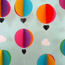 Hot Air Balloons & Clouds Garland by Young Hearts Love - This brightly colored mobile/garland is perfect for a baby's room, but I'd also love to use it for my daughter's next birthday party.