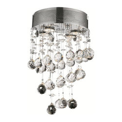 "PWG Lighting / Lighting By Pecaso - Bernadette 2-Light 12"" Crystal Wall Sconce 1721W12C-EC - Brilliant and intense crystals suspended and slowly spinning in space are the centerpieces of this remarkably distinctive Bernadette Collection. Displaying all the rich and colorful beauty of crystal with virtually invisible and effortless support, this design affords the eye a mesmerizing experience."