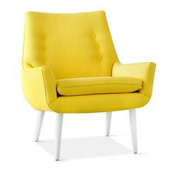 Jonathan Adler - Jonathan Adler Mrs Godfrey Chair in Stockholm Canary - Mrs. Godfrey chair has a small profile, but a big presence. Its tailored mid-century lines would look at home in your Swedish country manse or equally at home in your Park Avenue penthouse. Features a tight back with vertical button tufting and a solid maple base.