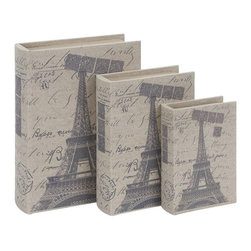 Benzara - Wood Leather Book For Book Care - Set of 3 - Wood Leather Book S/3 is anytime best buy for everyone. It makes the room decoration more reflective and meaningful. It comes as set of three book casings designed remarkably with Eiffel tower picture.