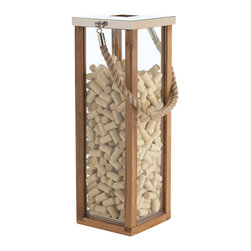 Kathy Kuo Home - Tate Coastal Beach Jute Rope Handle Wood Steel Silver Candle Lantern- Tall - Perfect for beach homes, this tall rope-handled lantern has all the spare, no-nonsense attitude we love about nautical style. And it looks great! For any space where relaxation is a priority, this is a clear winner.