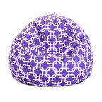 Majestic Home - Indoor Purple Links Small Bean Bag - It's ba-a-a-a-ck! Everybody loves to plop onto a beanbag, so this baby is bound to be the most popular seat in your favorite setting. It's made of durable cotton twill, and that chic chain pattern is available in your choice of colors.