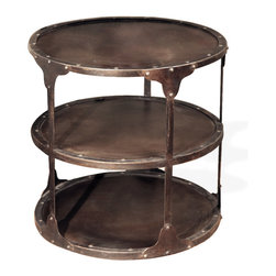 Kathy Kuo Home - Alfons Industrial Loft Round 3 Tier Metal Side Table - Triple your display space and storage with our industrial metal side table. Finished in dark brown and trimmed with metal grommets, this hand-crafted table artfully accents a reading nook, entryway or bedside.