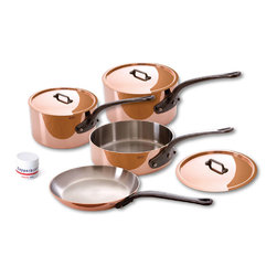 Mauvel M'Heratige 150c 7 Piece Copper Cookware Set - The Mauvel M'Heratige 5 piece cookware set allows you to cook with unsurpassed heat conductivity and control thanks to it's 90% copper  10% stainless steel construction.  The M'150c collection features classic cast iron handles  stainless rivets  a polished copper exterior  and an 18/10 stainless interior.  The cookware has a thickness of 1.5 mm  and the copper exterior allows for superior heat conduction and control.  The M'Heratige collection represents the total experience and heritage of Mauvel 1830.  Set includes      1.9 qt Saucepan (6410.17)   1.9 qt Saucepan Lid   3.2 qt Sauté Pan (6411.25)   3.2 qt Sauté Pan Lid   3.6 qt Saucepan (6410.21)   3.6 qt Saucepan Lid   10.2 in Fry Pan   Copperbrill Cleaner     Product Features      Bilaminated copper stainless steel - 90% copper and 10% 18/10 stainless steel   Copper cookware heats more evenly and much faster than other metals  and offers superior cooking control   1.5 mm thickness   18/10 stainless steel interior preserves the taste and nutritional qualities of foods and is easy to clean   Mauvel M'150c cookware can be used on gas  electric  halogen stovetops  and in the oven. It can also be used on induction stovetops with Mauviel's induction stove top interface disc (sold separately)   Mauvel cookware is guaranteed for life against any manufacturing defects (Warranty not valid for commercial use)   Made in France