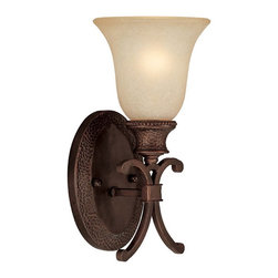 Capital Lighting - Capital Lighting 1886BB-252 Hill House Transitional Wall Sconce - Classically designed sconce from the Hill House Collection is finished in Burnished Bronze with Mist Scavo glass.  Hammered detailing adds interest.