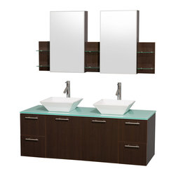 """Wyndham Collection - Amare 60"""" Espresso Double Sink Vanity Set w/ Green Glass Top & Medicine Cabinet - Modern clean lines and a truly elegant design aesthetic meet affordability in the Wyndham Collection Amare Vanity. Available with green glass or pure white man-made stone counters, and featuring soft close door hinges and drawer glides, you'll never hear a noisy door again! Meticulously finished with brushed Chrome hardware, the attention to detail on this elegant contemporary vanity is unrivalled."""
